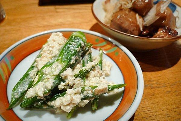 四条大宮 鳥獣戯画 お通し オクラ白和え 里芋とタコの煮物