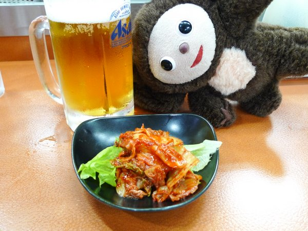 餃子の王将 四条大宮店 ビール キムチ