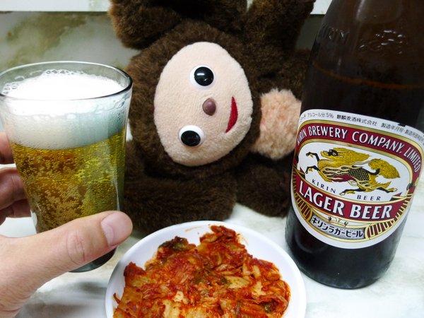 新福菜館三条店 キムチとビール