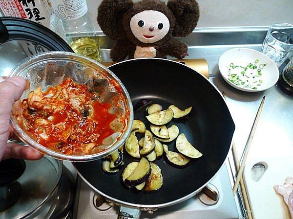 ナスのキムチ炒め作り方
