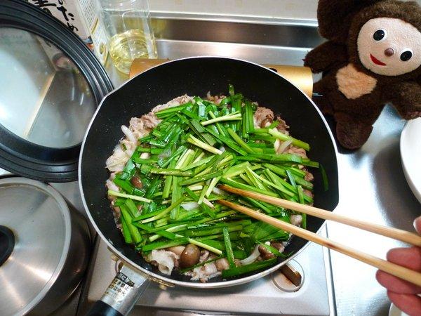 豚肉のニラ玉の作り方(3)