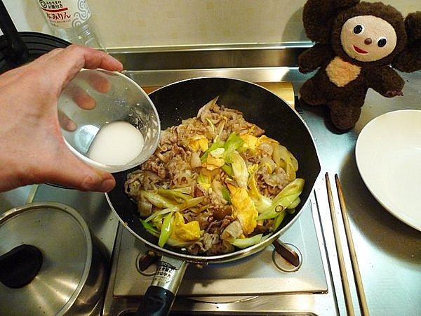 豚玉ネギ炒め丼の作り方(5)