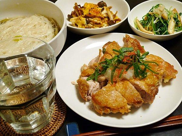 昨日の晩酌 鶏ももやきおろしポン酢