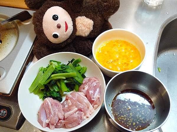 小松菜入りの親子炒め 作り方