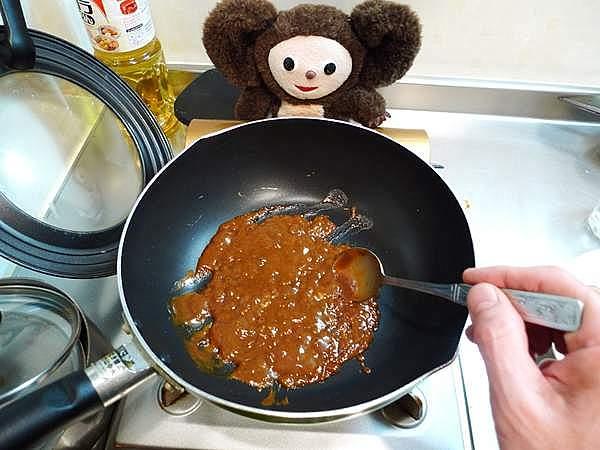 ワタ味噌炒め 作り方