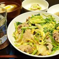 豚肉と壬生菜の卵炒め