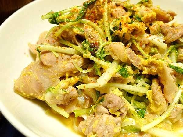 豚肉と水菜の卵炒め