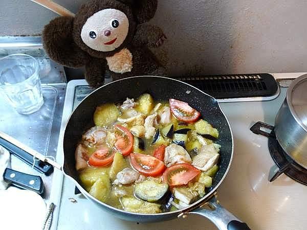 ナスと鶏の塩味煮 作り方
