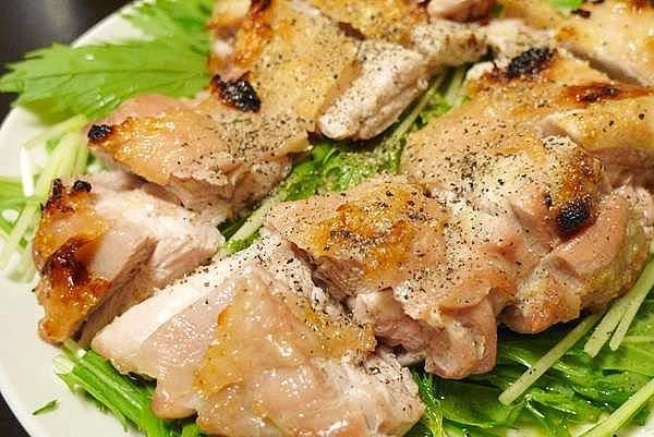グリルチキンと水菜のサラダ
