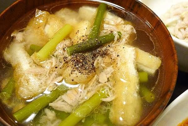 ツナとにんにくの芽のスープ