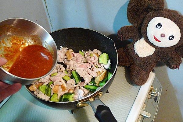 豚肉とキュウリのピリ辛みそ炒め