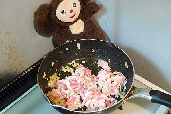 豚肉と小松菜・厚揚げのあんかけ炒め