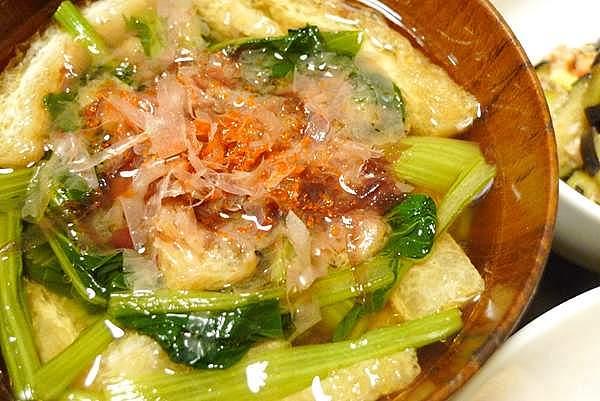 小松菜と油あげの吸物