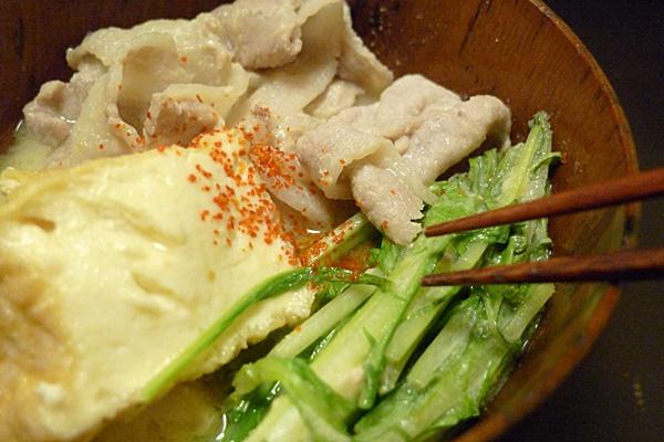 豚の水菜の白みそ鍋
