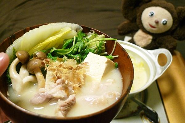 白菜と水菜の白みそ汁