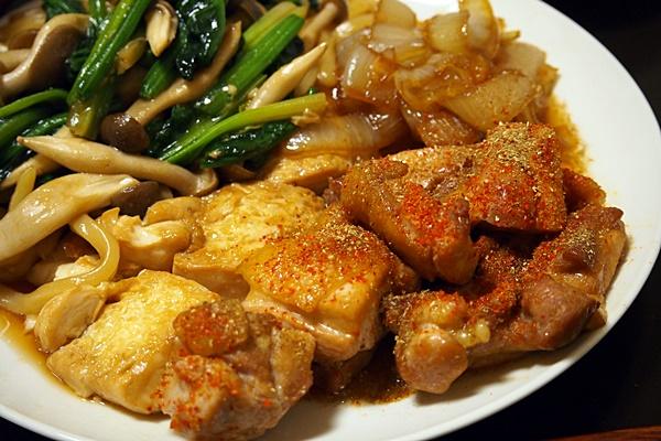 鶏のテリヤキと焼きうどん