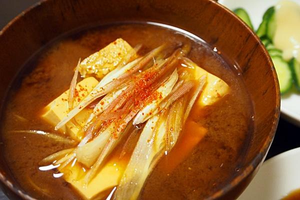 豆腐とミョウガの赤出し