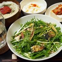 水菜と塩サバのサラダ