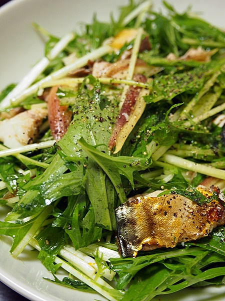 水菜と塩さばのサラダ
