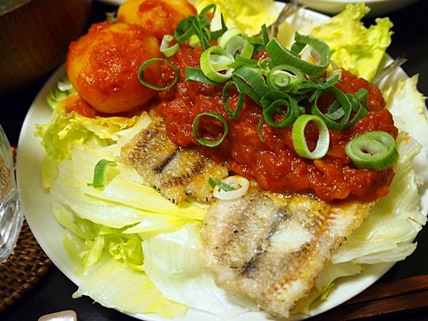 ニギスのムニエル和風トマトソース