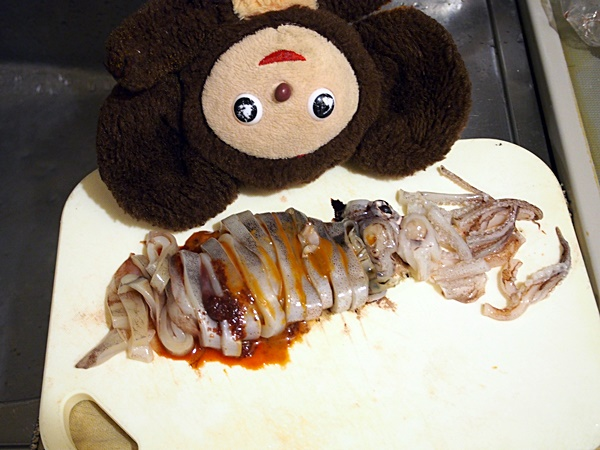 イカワタときゅうりのキムチ炒め 作り方