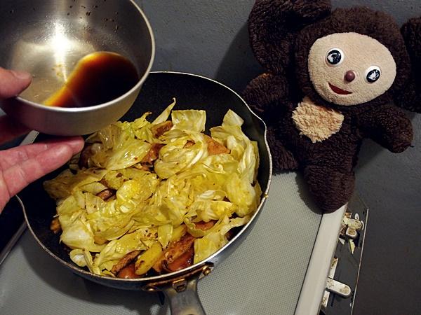 スパムとキャベツ炒め丼