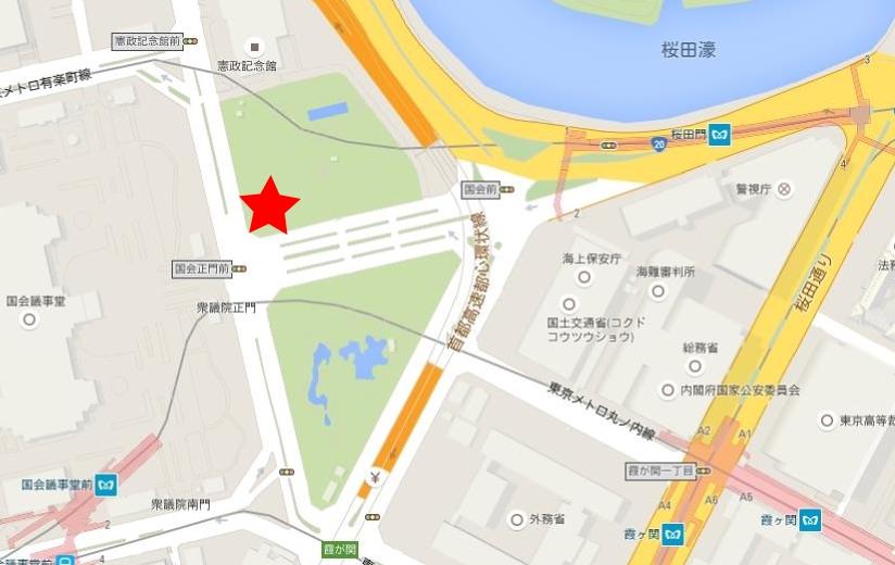 国会正門前地図