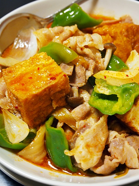 キムチ味の家常豆腐