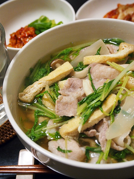 豚肉と水菜のすまし汁