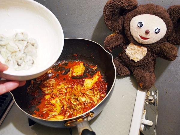かきのキムチ炒め 作り方