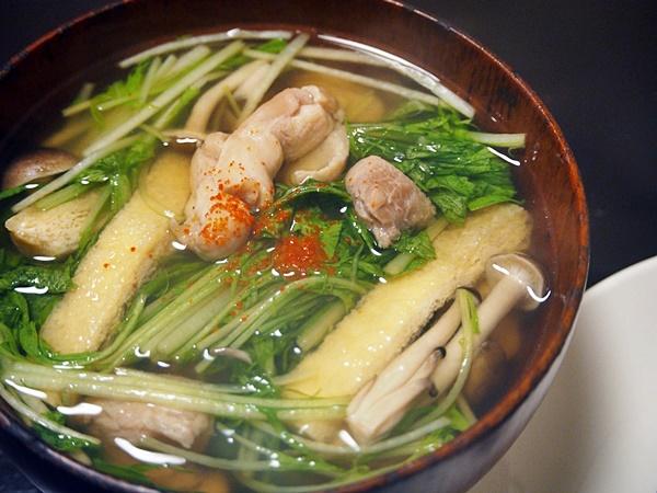 水菜と鶏肉の吸い物
