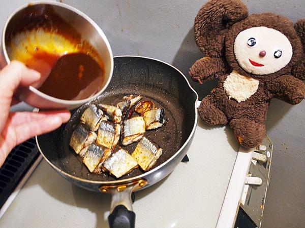 サンマの中華風・甘辛みそ炒め 作り方