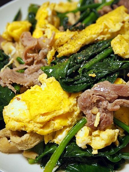 豚肉と卵のポパイ炒め