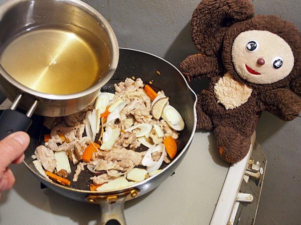 菜の花と豚肉のチャンポン 作り方