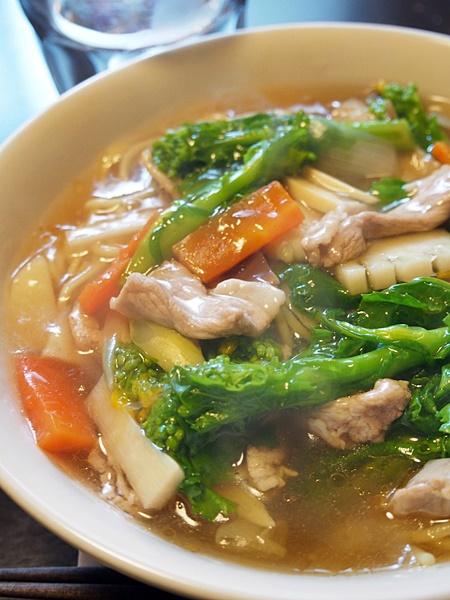 菜の花と豚肉のチャンポン・簡易版