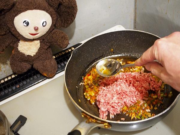 ほうれん草と挽肉のカレーうどん 作り方