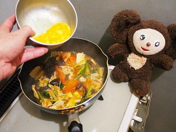 トマトと卵・豚肉の酸辣湯麺 作り方