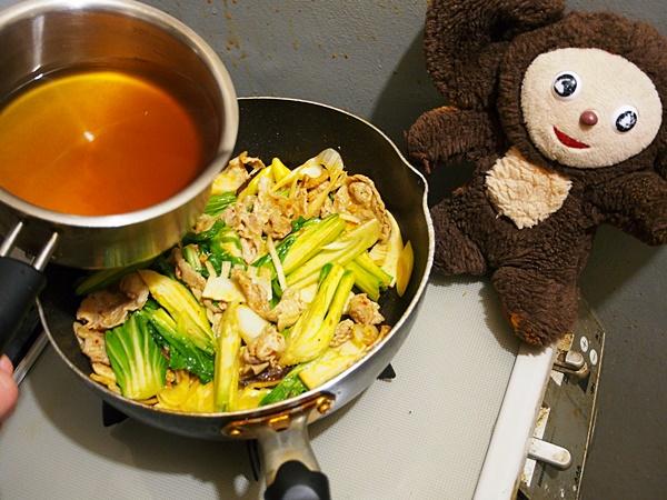 豚肉とチンゲン菜の中華風うどん 作り方