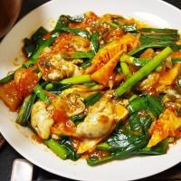 牡蠣のキムチ炒め