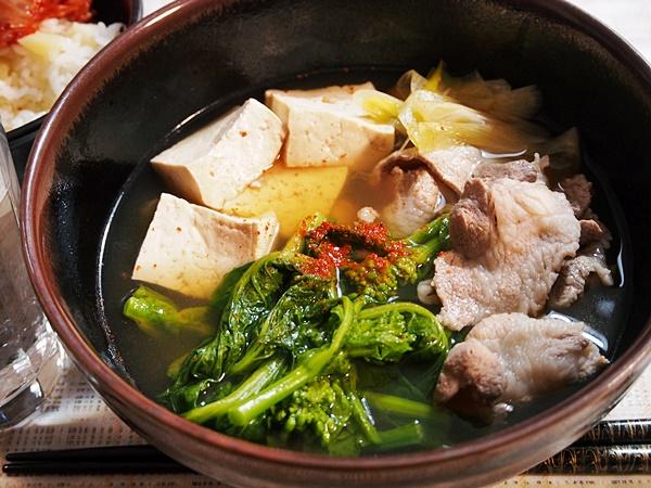 菜の花と豚肉の吸い物・在日コリアン風