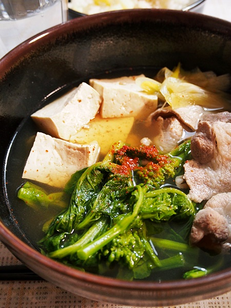 豚肉と菜の花の吸い物・在日コリアン風