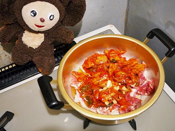 豚肉とネギのキムチみそ汁