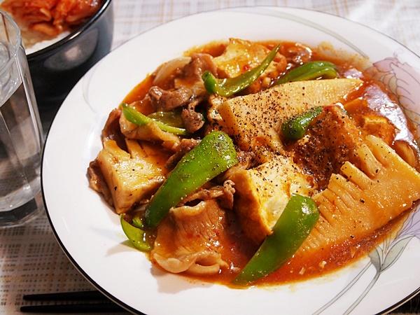 タケノコの家常豆腐