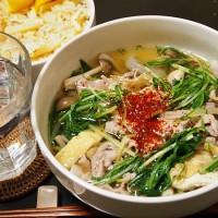 豚肉と水菜のニンニク吸い・タケノコご飯