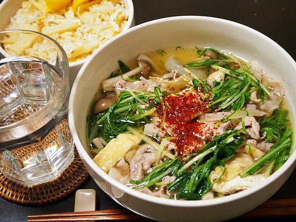 豚肉と水菜のはりはり汁・タケノコご飯