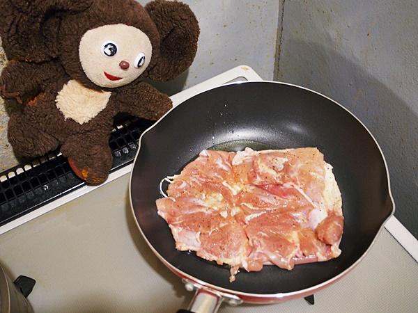 水菜と鶏ソテーのサラダ
