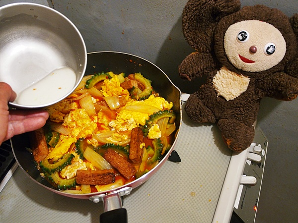 ゴーヤと卵の酸辣あんかけ 作り方