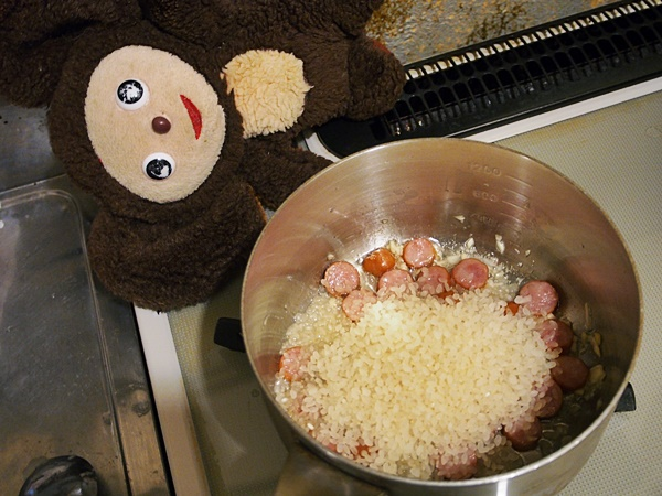 ソーセージと水菜のリゾット 作り方
