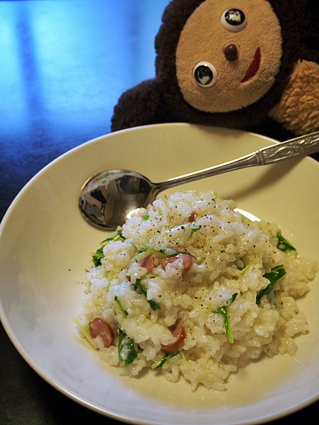 ソーセージと水菜のリゾット