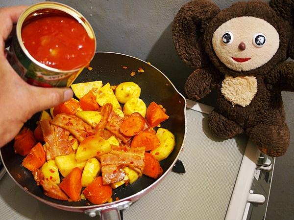 ベーコンと厚揚げの和風トマトスープ つくり方